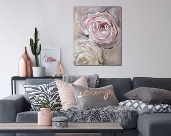 "Floral Oil Painting Flowers Art Original // ""Elegance"" 24 x 30"" Canvas"