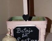 Easter / Baby's First Easter Basket / Personalized Easter Basket / Mint Green and Blush Pink / Vintage Shaker Basket / Chalkboard Decor