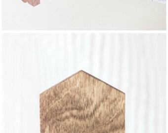 Wood Hexagon Mobile Geometric Baby Boy Girl Nursery Decor Rustic Crib Minimal