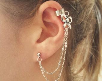 Dainty bow ear cuff - bow ear cuff wrap, bow ear cuff chain, bow chain earrings, bow ear cuffs