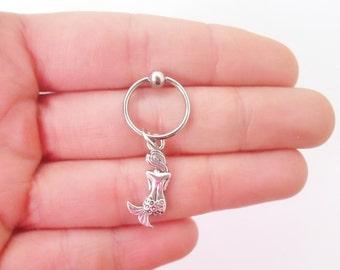 Tiny mermaid tragus helix cartilage hoop piercing