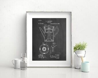 Coffee Percolator 1880 Patent Art, Vintage Coffee, Coffee Shop Decor, Diner Decor, Kitchen Wall Art, PP0078