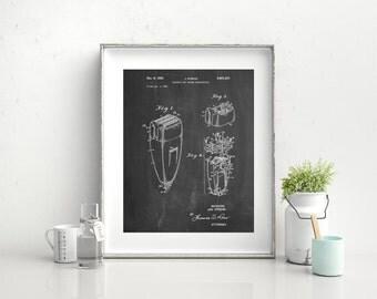 Electric Shaver Patent Poster, Bathroom Wall Art, Vintage Razor, Barber Shop Decor, PP1011