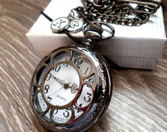 Pocket Watch Set of 2, 3 or 4 Black Pocket Watches with Chains Personalized Groomsmen Gift Wedding Party Gift Father/Son Gift Mens Watch