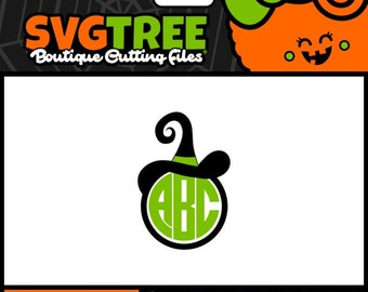 Witch SVG Halloween Monogram SVG Halloween SVG Witch Hat Commercial Free Cricut Files Silhouette Files Digital Cut Files svg cuts