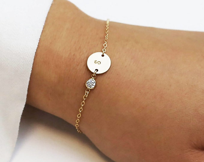 Personalized Initial Bracelet with CZ Charm / Personalized Holiday gift / Bridesmaid gift / Christmas gift / Friendship Bracelet   EB036