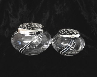 """2 Caithness Glass Posy Bowls, """"Panache Midnight"""" Pattern, Hand Blown Glass Bowls with Silver Wired Lids"""