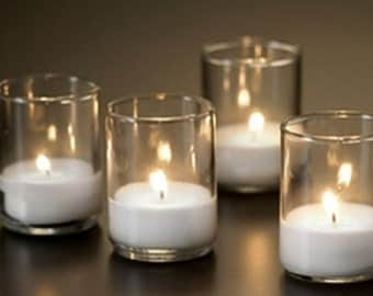 Glass Votive Enclosure with White Unscented Votive Candles, Add-on to Candelabra Sale