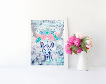 Bohemian cow skull with flowers art print, poster for nursery, girls room, dorm room, apartment, or home decor