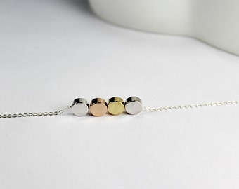 Simple necklace.Circle Bead necklace,THREE color ,4 Dot ,three mix metal,3 tone  jewelry.Four best friends , 4 daughters . 4 sisters dainty,