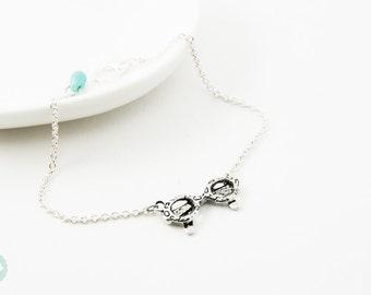 Glasses bracelet, silver bracelet, friendship bracelet, cute bracelet, silver necklace, silver jewelry, cute necklace, glasses necklace