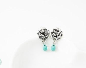 Rose stud earrings, rose earrings, bridesmaid earrings, wedding earrings, silver stud earring, silver rose studs, silver rose earrings, rose