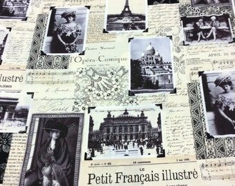 Patchwork Quilting Fabric Timeless Treasures C7305 Paris Noir
