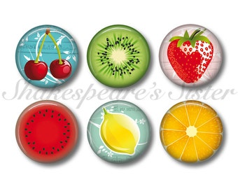 Fruit Magnets - Fridge Magnets - 6 Magnets - 1.5 Inch Magnets - Kitchen Magnets