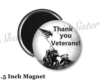 Thank You Veterans - Fridge Magnet - Military Magnet - 1.5 Inch Magnet - Kitchen Magnet