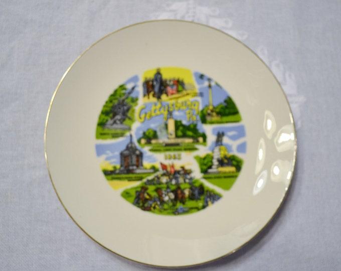 Vintage Gettysburg Pa Decorative Plate State Travel Souvenir PanchosPorch