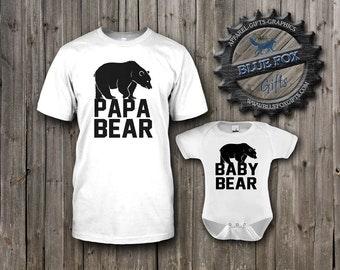 Papa Bear Shirt, Baby Bear Shirt, Dad and Baby matching shirts, cute baby clothes, Parent child set, Mens shirt,baby bodysuit, BAM_001