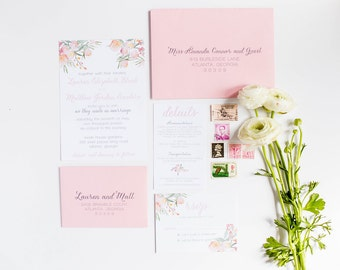 Floral Wedding Invitation   Pink Whimsical Wedding Invitations   SAMPLE INVITE