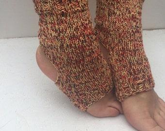 hand knit yoga socks  women multicolors  Yoga Socks  flip flop Dance Socks  Women  Socks  Colorful Hipster Socks Yoga active wear