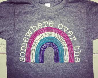 Somewhere over the rainbow toddler shirt. Cute toddler tshirt. Hawaii kid. American Apparel. Hand drawn.
