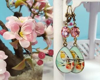 Canary Earrings, Yellow Bird Earrings, Audubon Print, Rhinestone Earrings, Mint and Pink Earrings, Finch Jewelry, Bird Watcher Gift, E3905