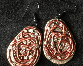 Earrings Distressed Boho Polymer Clay Metallic Industrial Jewelry Casual Dangles ERRATIC by ArtCirque Donna Pellegata