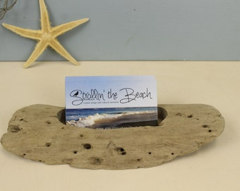 Driftwood Business Card Holder, Office Organizer, Desk Accessories, Nautical, Coastal, Natural Wood, Card Display, Father's Day Gift