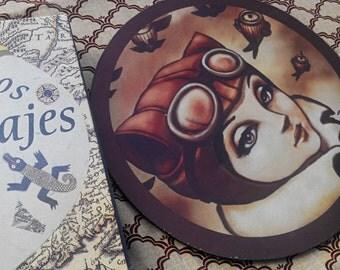 Illustrated mousepad, steampunk decorations, aviator, big eyes, original illustration by Poison B., steampunk desk, steampunk gift