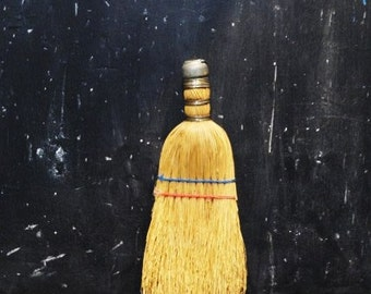 Old WISK BROOM-Hand Held Whisk Brush-Wire Wrapped Straw-Corn-Metal Cap & Hook-String-Vintage Cleaning Tool-Decor-Orphaned Treasure-071216B