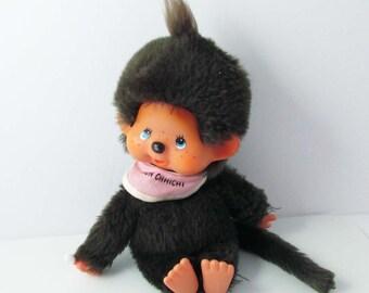 Monchhichi Bib Stuffed Doll Monkey Vintage Mod Thumb Sucking Doll 8 Inches