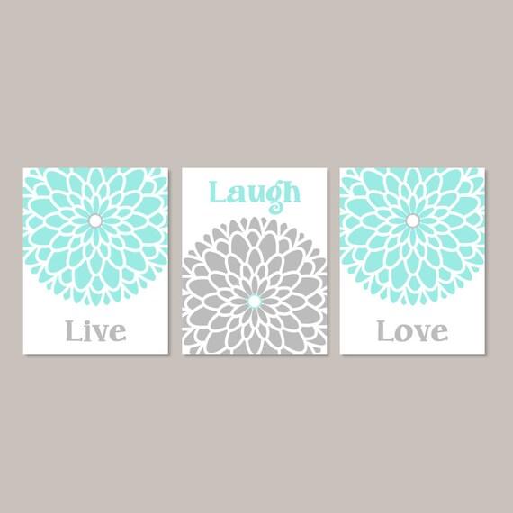 Aqua Gray Wall Art Live Laugh Love Bedroom Wall Decor Picture