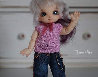 Pukipuki clothes: Pink knitted top and jeans for pukipuki, brownie