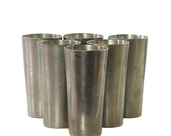 Bamboo Motif Pewter Cups, Set of 6  *FREE SHIPPING*