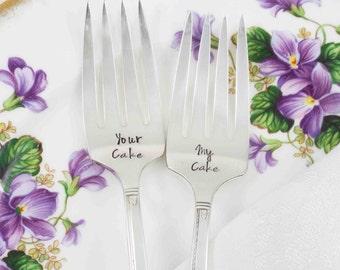 Cake Forks, Dessert Forks, My Cake, Your Cake, Personalized Forks, Name Forks, Hand Stamped Forks