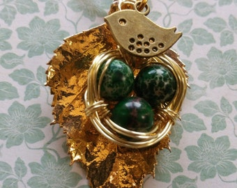 Birds Nest Handmade Necklace & Earrings Set - Gold Leaf + Green - Recycled