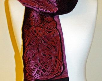 Hand Printed Embossed Deep Aubergine Velvet Scarf Celtic Design