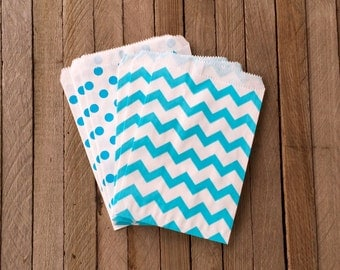 48 Blue Favor Bags--Chevron and Polka Dot Favor Bag--Candy Favor Bag--Chevron Goodie Bags--Chevron Party Sack--Birthday Treat Sacks