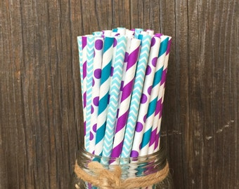 100 Teal, Purple and Blue Polka Dot, Stripe and Chevron Paper Straws - Under the Sea Party Supply, Pool Party, Free Shipping!