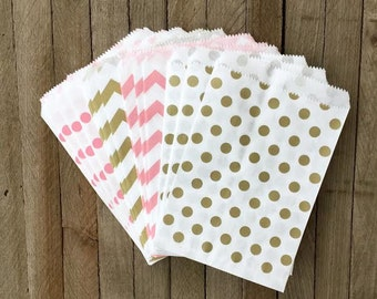 48 Gold and Pink Favor Bags--Chevron and Polka Dot Favor Bag--Candy Favor Bag-Goodie Bags--Chevron Party Sack--Birthday Treat Sacks