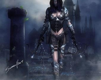 "Diablo 3, Demon Hunter, Fan Art, Fantasy Art Print, Gothic Art, Full Moon, Graveyard, Crossbow, Video Game - ""Nephilim"" by Summer Rae"