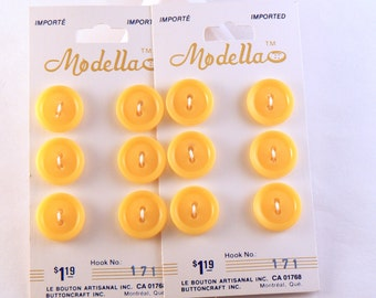 """10 - 5/8""""  Plastic Yellow Buttons - Button Card - 15 mm Sewing Buttons - Yellow Craft Button - Vintage Yellow Buttons  #YF-16-04"""