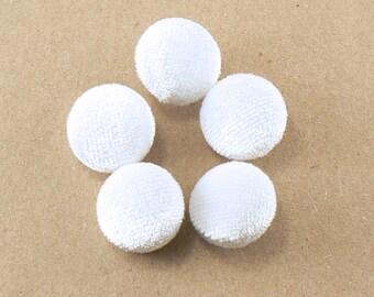 """5 - 5/8"""" White Velvet  Fabric Buttons - Fabric Covered Shank Buttons - Handmade Fabric Buttons - 15 mm Sewing Buttons #FBV-10-05"""