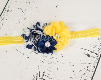 Navy Blue & Yellow Flower Headband, Navy Yellow Girls Headband, Baby Girl Headband, Newborn Headband, Navy Blue Headband