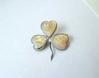 Clover Pin 9k Gold Clover Pin Sterling Silver Shamrock Pin Luck of the Irish Ireland Shamrock Clover Sterling & Gold Erin Go Braugh Brooch