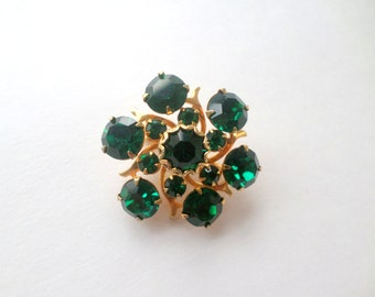Emerald Brooch Pin Gold Green Crystal Brooch Pin Green Rhinestone Brooch Pin Gold Small Scarf Coat Lapel Jacket Emerald May Birthstone Pin