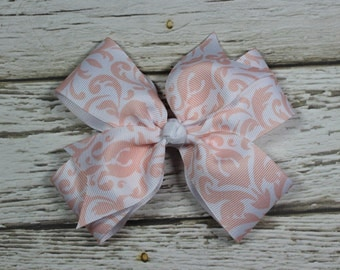 White Ribbon with Peach Damask Pattern Boutique Pinwheel Bow on French Barrette