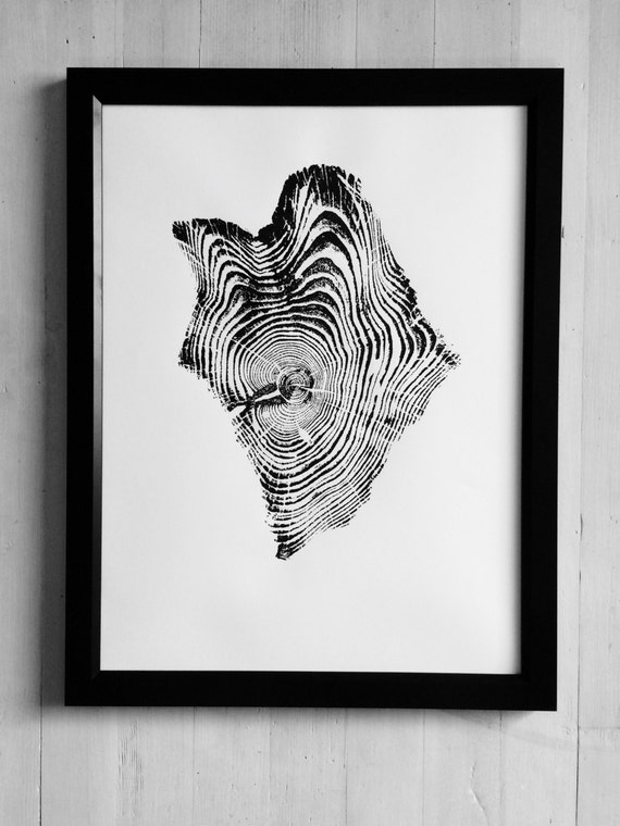 Yellowstone Tree Print, Woodcut Art, Tree ring art print, Christmas tree art, Thanksgiving wall art, Arborist art gifts, Naturalist art