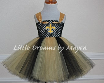 Saints inspired tutu dress and matching bow size nb to 14years