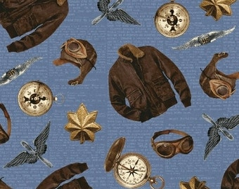 Theory of Aviation - Flight Gear by Whistler Studios for Windham  42097 4 Blue  - Priced by the Half yard