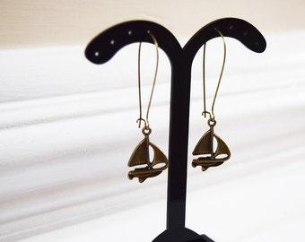 Antique Bronze Sailing Boat Design Drop Earrings